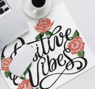 Positive vibes mouse pad quotes inscription design. It is made from high quality material and easy to maintain. Available in different sizes.