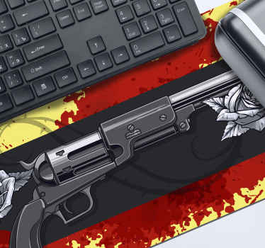 Weapons gaming vinyl mouse pad to decorate your mouse space. The product is featured with a gaming theme background hosting weapons and blood stain.