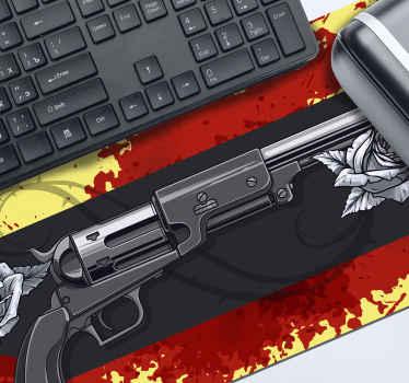 όπλα τυχερού παιχνιδιού βινυλίου ποντίκι για να διακοσμήσετε το χώρο του ποντικιού σας. Το προϊόν εμφανίζεται με φόντο θέμα παιχνιδιού που φιλοξενεί όπλα και λεκέδες αίματος.