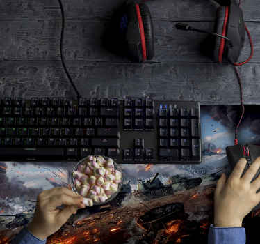 Το gaming mouse pad έχει σχεδιαστεί με φόντο το θέμα του πολέμου, διαθέτει στρατιωτικά πολεμικά οχήματα με εμφανή υφή.