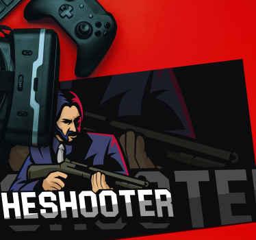 σχεδιασμός παιχνιδιού ποντικιού βινυλίου για λάτρεις των βιντεοπαιχνιδιών. ο σχεδιασμός διαθέτει φόντο θέμα παιχνιδιού και την εικόνα κινουμένων σχεδίων ενός σκοπευτή με λήψη.
