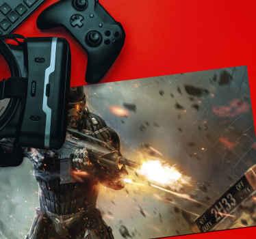 αυτό το μαξιλάρι βινυλίου ποντικιού gaming θα ήταν μια εξαιρετική ιδέα για τους λάτρεις των βιντεοπαιχνιδιών. εμφανίζεται με έναν στρατιώτη να πυροβολεί βολές από στρατιωτικό όπλο