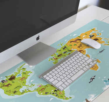 A lovely animal world map mouse pad design featured with different animals and habit related to every location. Easy to maintain of high quality.