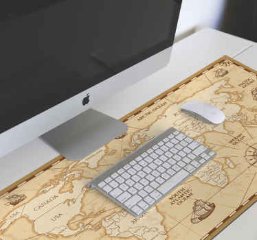 An original mouse pad designed in vintage style with the feature of a world map displaying different continents with nautical features.