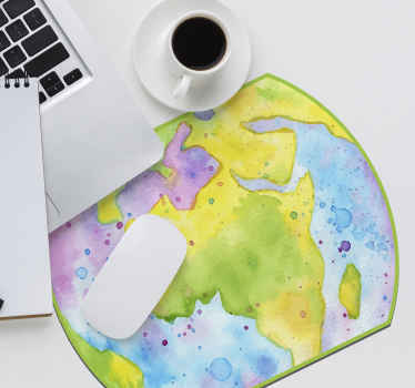 A world map mouse pad with abstract design of world map in multicolored painting texture. t is easy to maintain and made of good quality.