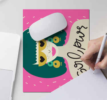 A mouse pad with the design of a female in an aesthetic glamorous appearance. The product is available in different sizes.