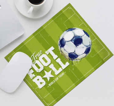 Football mouse pad design created on a green patterned background with a ball and football text on it. The design is available in different sizes.