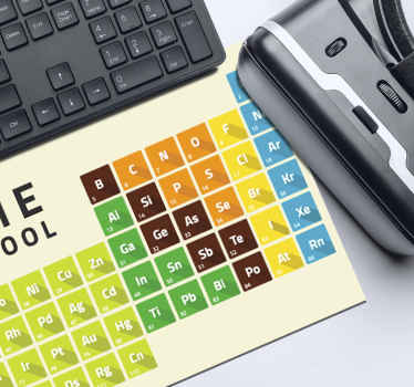 A periodic table mouse mat containing basic element of the periodic table. It is available in various sizes and it is easy to use.