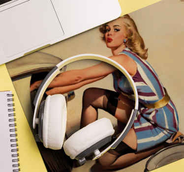 An original mouse mat with a pin up model design in a real graphic appearance. The product is available in different colours.