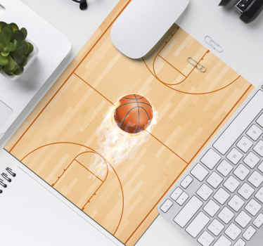 A mouse mat with a basketball court design with a ball. It is available in different sizes, made of high quality, easy to use and maintain.