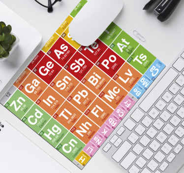 A mouse mat with a periodic table design. The colorful science mouse mat contains some basic elements in the periodic table in roles and column.