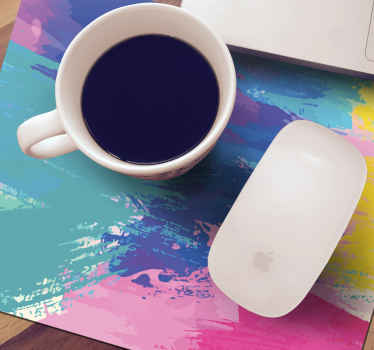 A colorful abstract theme design mouse mat made from high quality material and easy to use. It is available in different sizes.
