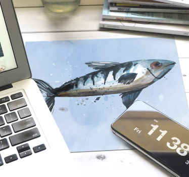Fish mouse pad design with a special sea food print on a light blue background. It is available in different sizes and easy to maintain.