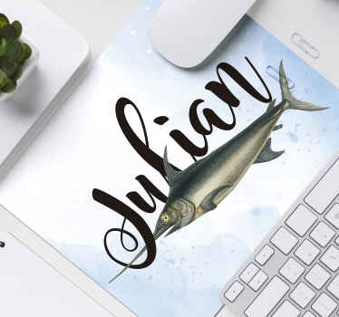 Personalise your name or any text of desire on our original fish mouse pad made from the best of quality material. It is easy to use and washable.