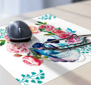 An original modern mouse pad for your computer mouse space with colorful flower and skull design. It is made of high quality.