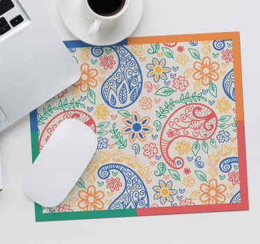 Make working on your computer less stressful with our amazing textural trendy mouse mat  with multicolored paisley design.