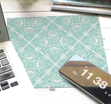 Ornamental draw tile paisley mouse pad to place on desktop table space for  mouse use. It is made with high quality material and easy to maintain.