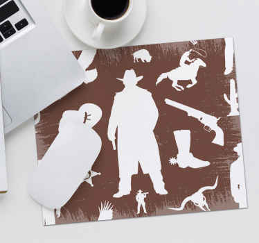 Diseño de alfombrilla de ratón original con patrones de vaqueros como revólveres, botas, caballos y más ¡Envío a domicilio!