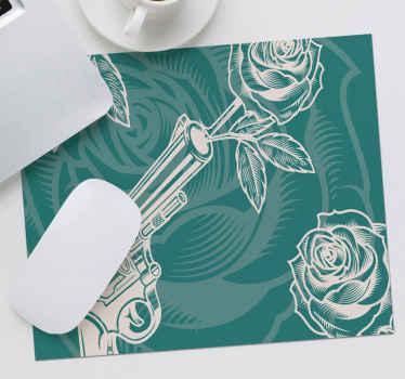 Un tapis de souris original créé sur fond vert. Ce tapis de souris vert est conçu avec un revolver et des roses. Entretien facile.