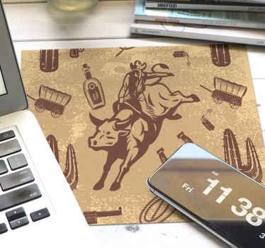 Diseño de alfombrilla de ratón original con diseño de vaquero montado en toro en fondo marrón. Elige medidas ¡Envío a domicilio!