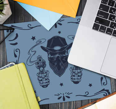 Beautiful mouse mat with cowboy's skull design. The product is made of good quality material and very easy to maintain. It is available in sizes.