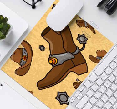Alfombrilla de ratón con vestimenta de vaquero con una bota y un sombrero y la insignia del oficial del sheriff ¡Descuentos disponibles!