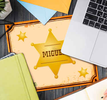 Beautiful sheriff badge mouse pad designed in yellow colour on brown background.  It is customisable with any name you want.