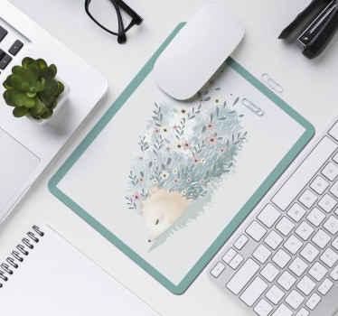 Preciosa alfombrilla para ratón con un diseño artístico de puercoespín con flores en las púas. Elige medidas ¡Envío a domicilio!