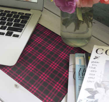 Christmas pattern mousepad which features a stunning red and black tartan design. Discounts available. High quality materials.