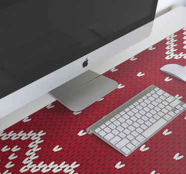 Christmas typical pattern mousepad. The design is patterned with white ornamental  features on red textured background. Easy to maintain and original.