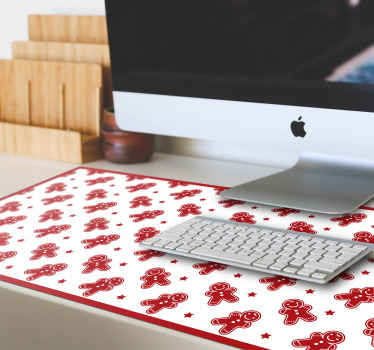Christmas cookies Christmas mousepad. Lovely white background design Christmas mouse mat with different charismas cookies and stars design in red.