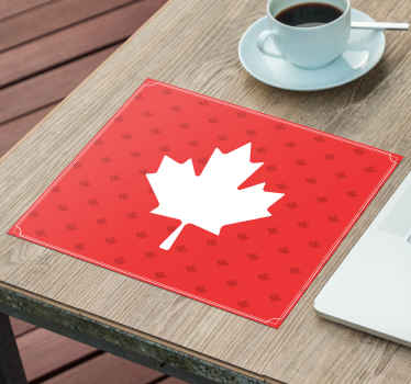 An original red background mouse mad with Canadian symbolic maple leaf design. It is original and made with high quality material.