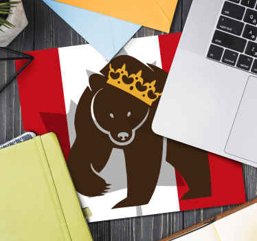Featured bear animal mouse pad. The design background is a Canada flag colour. A symbolic mouse mat design representation for Canada.