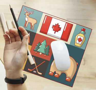 Canadian iconic original vinyl mouse pad. The mouse pad has different icon representation for Canada. Made of high quality and available in sizes.