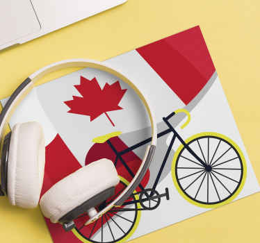 Featured Canada flag mouse pad design. The product also contain the design of a bicycle, made of high quality and available in different sizes.