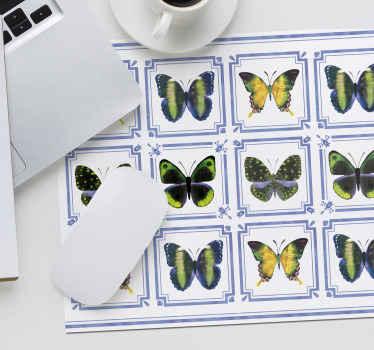 Alfombrilla ratón colorida con patrón de azulejos de mariposas para decorar tu escritorio mientras usas el ordenador ¡Envío a domicilio!
