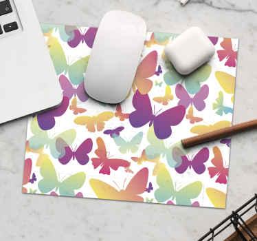 Alfombrilla ratón original multicolor de mariposas con fondo blanco para decorar tu habitación o regalar ¡Envío a domicilio!
