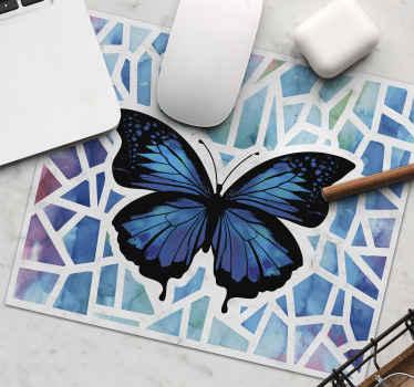 Alfombrilla ratón original de color azul con diseño de mariposas con un patrón modernista. Elige medidas ¡Envío a domicilio!