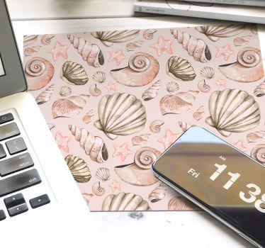 Beautiful decoratiif mouse pad patterns, the design contains small prints of seashells in tile patterns can also be delivred at home