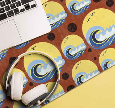 ¡Disfrute de una alfombrilla ratón vintage de alta calidad con olas y pájaros con un patrón de sol de los 70 con olas!