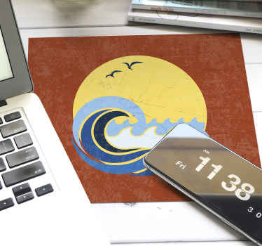 Beach wave on the yellow round sun mousepad to make the use of your device more fun. Made of high quality vinyl! Smooth surface!