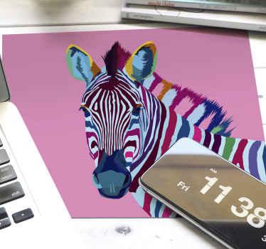 Tapete de rato pop art de zebra que apresenta uma imagem muito legal de uma zebra, pintada em muitas cores diferentes. Vinil anti-bolha.