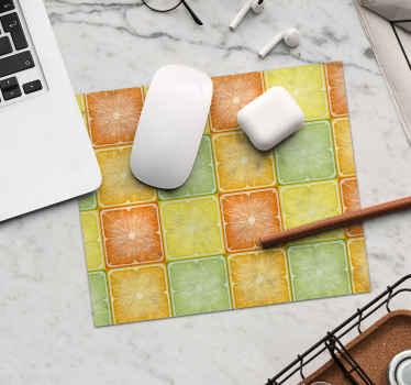 Alfombrilla ratón texturas de rodajas cuadradas de cítricos en amarillo y naranja, ideal para que llenes de alegría y colores tu casa ¡Envío exprés!