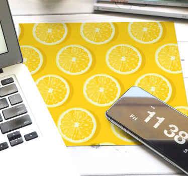 ¡Pida esta alfombrilla ratón texturas de fruta cítrica ahora! Patrón amarillo de limones en rodajas para decorar tu mesa ¡Envío exprés!