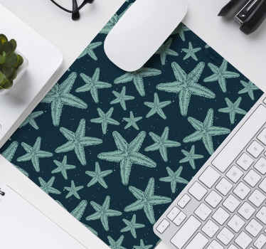 Mouse pad with a design of many sea stars of different sizes in various shades of navy blue that will fill with peace and harmony the decoration.