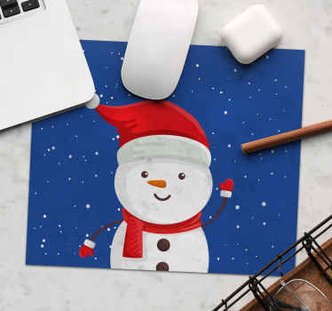 Bring the Christmas spirit to your house at any time with this amazing original vinyl mouse mat displaying a marvelous snowman with a blue background!