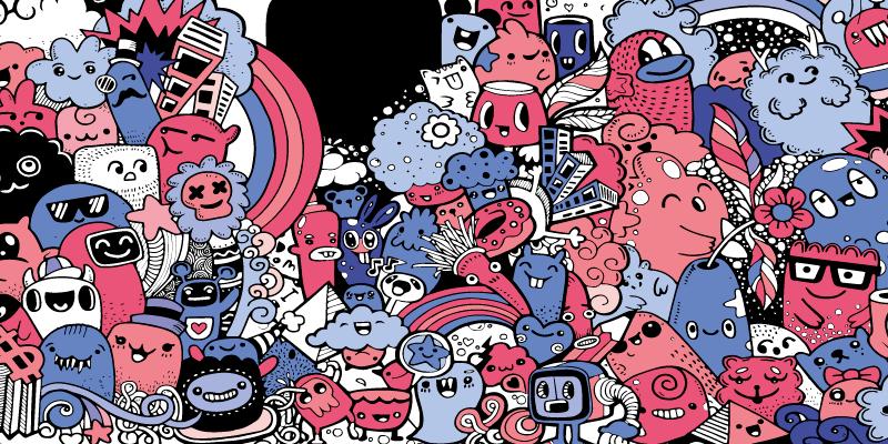 TenStickers. Fantasie anime vinyl muismat. Als je een fan bent van tekenfilms en anime, dan is deze anime muismat met een patroon van verschillende geanimeerde figuren in anime-stijl perfect voor jou.
