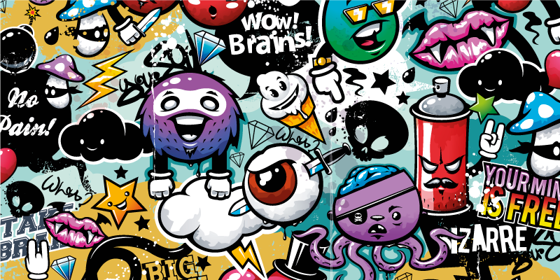 TenStickers. Graffiti gaming vinyl mouse pad. Add color and life to your desk with this fun gaming mouse pad with a graffiti pattern that will make it easier for you to use your mouse.