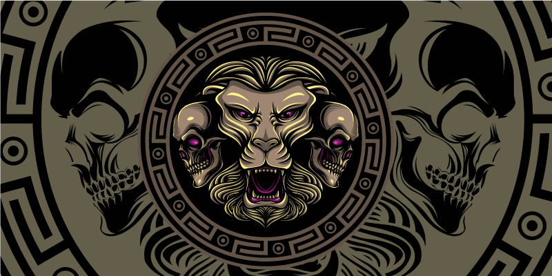 TenStickers. Lion and Skull gaming vinyl mouse pad. Spectacular gaming mouse pad with a pattern of lion skulls in shades of green, brown and black that will make your desk much more original.