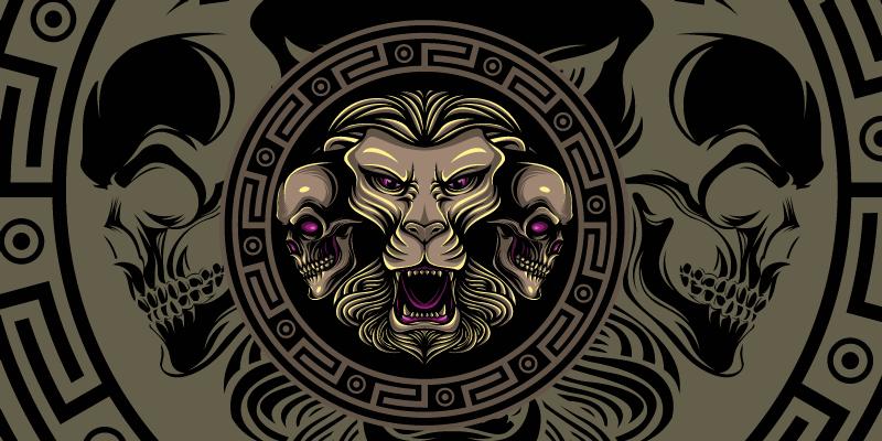Tenstickers. Løve og hodeskalle gaming vinyl musematte. Spektakulær musematte med et mønster av løvehodeskaller i grønn, brun og svart nyanser som vil gjøre skrivebordet ditt mye mer originalt.